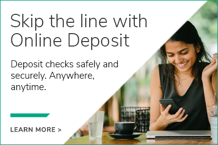 Image showing a member smiling at their phone, with text describing online deposit