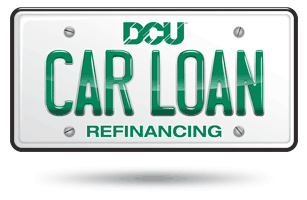 Car license plate saying DCU Car Loan Refinancing