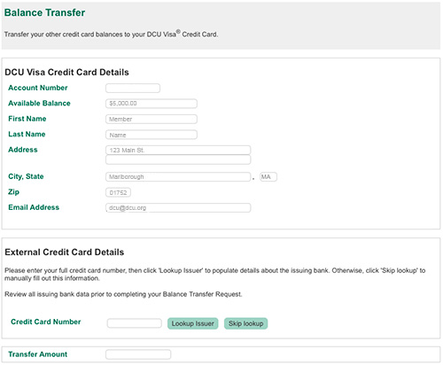 simple online transfer process - Visa Credit Card Balance