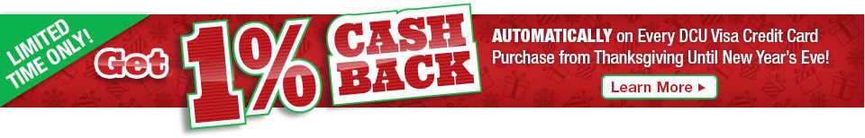 Automatically get 1% cash back from Thanksgiving to New Year's Eve!