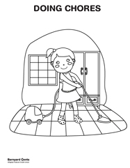 Download the completing chores coloring page
