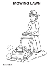 Download the lawn mowing coloring page